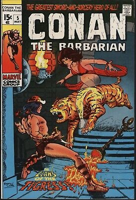 Conan The Barbarian #5 Vf/nm 9.0 White Pages Classic Barry Smith Art 1971