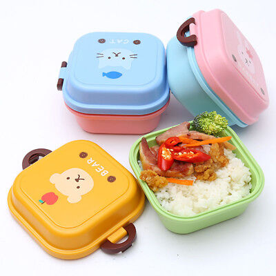 Kids Lunch Box Cartoon Double Layers Food Container Portable Storage Bento Box