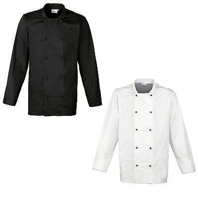 Premier Womens Mens Cuisine Chef's Jacket Black White Xs-3Xl 4Xl Pr661