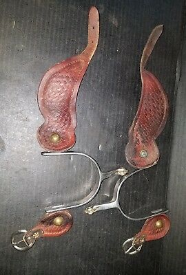 Vintage Roy Style Nickel Silver Brass Western Cowboy Spurs & Straps Free Shippin