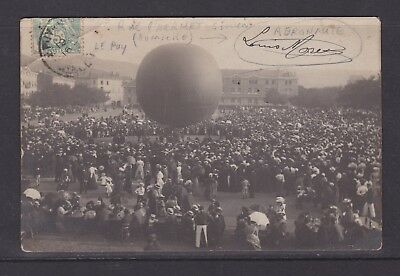 "Carte photo rare, Le Puy en Velay ""Lâcher de ballon place Michelet en 1906"" !!!"