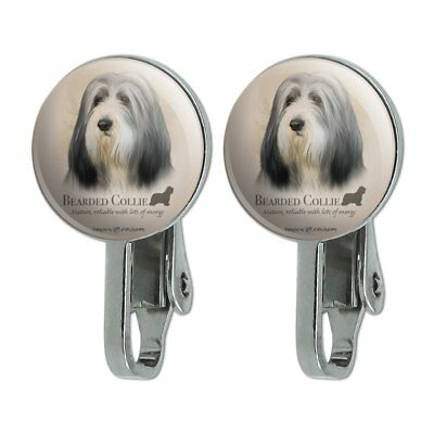 Bearded Collie Dog Breed Novelty Clip-On Stud Earrings