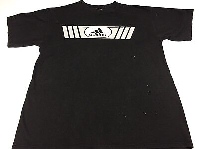 092074d2a VTG 90s ADIDAS Spell out DOUBLE Sided Graphic T-Shirt L Made In USA Black