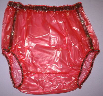 PVC Adult Baby Incontinence Snaper Diaper Rubber Pants Red Translucent