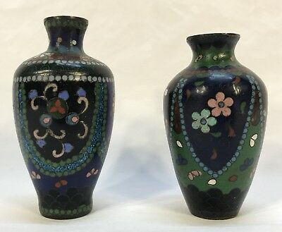 2 Small Antique Vintage Chinese or Japanese Cloisonné Enamel Flower Vases