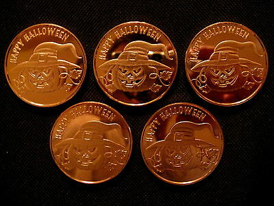 1 Ounce .999 Copper Round Happy Halloween(5 Coins)