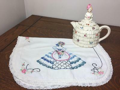 Antique Vintage Crinoline Teapot Lady w/ Embroidered Table Scarf Victorian Woman