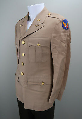 WWII Officer soldier dress uniform jacket USAF summer tan US Army Air force Corp