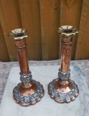 Pair Antique 19Th C. Sheffield Silver Plated Candle Sticks Decorative Bases