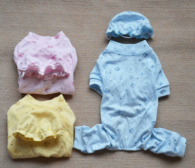 Dog Cat Pajamas Puppy Clothes Small Pet Sleeping Wear Jumpsuit with Hat XS-XL