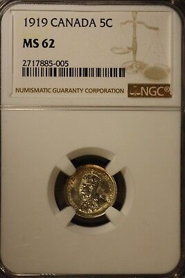 1919 Canada 5 Cent Silver NGC MS 62           ** Free U.S. Shipping **