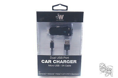 Just Wireless - Dual USB port Vehicle Charger 17W 3.4 Amp + 5Ft Cable - Black