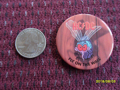 Ac/dc Fly On The Wall Button Pin (Vintage 1980's)