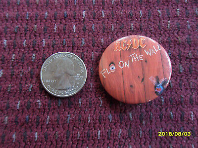 Ac/dc Fly On The Wall Button Pin (Vintage Dated 1985)