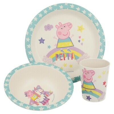 Set Bambu Con Orla 3 Pcs. (Plato, Cuenco Y Vaso) Peppa Pig Magical