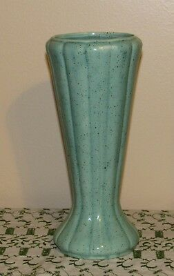 "American Bisque? 2588 Mint Green Speckled Vase 9.25"" USA Excellent!"