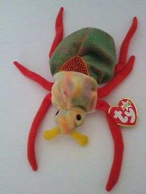 9b4a281bd22 Ty Beanie Baby SCURRY the Beetle Plush Toy 2000 Hang Tag Colorful Insect EUV