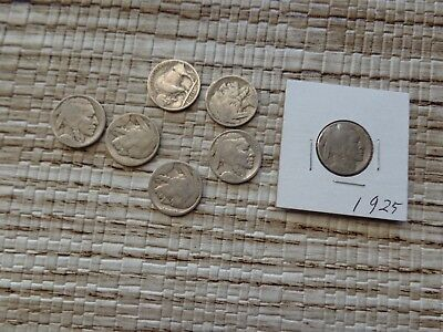 LOT OF 7 good condition 1925 Buffalo Nickels  Collect or for custom Jewelry