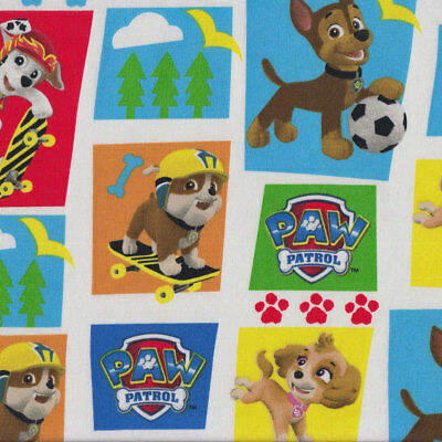Paw Patrol on White Dogs Puppy Marshall Rubble Kids Licensed Fabric FQ *New*