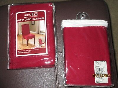 LOT of 2 Sure Fit Duck Solid Shorty Dining Room Chair Slipcover Claret SF33881