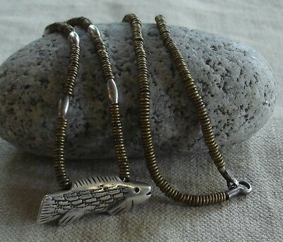 """Vintage Heavy Artisan Handcrafted Sterling Silver Fish Pendant Necklace ~ 28"""""""