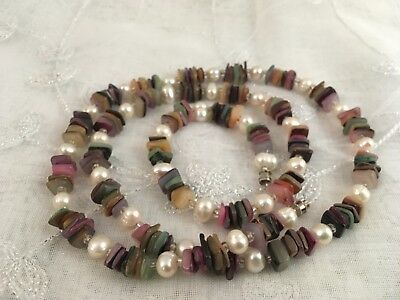 """Vintage Mother of Pearl Beads Faux Pearls Necklace 29 1/2"""" Long"""