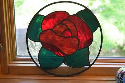 Stained Glass Red Rose Window Decoration Sun Catcher 10 Inch Diameter