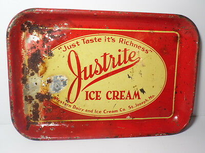 VINTAGE 1940s JUSTRITE ICE CREAM ADVERTISING TRAY ST. JOSEPH MISSOURI DAIRY TRAY