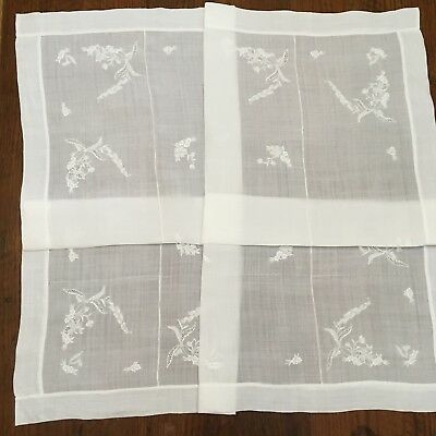 Vintage  Madeira Fine Linen HAND Embroidered Tablecloth 39 x 41 Square WEDDING
