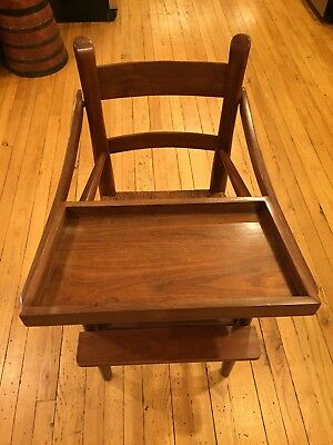 EA Clore Child's High Chair - Vintage, Walnut with Rush Seat(No Longer Made)