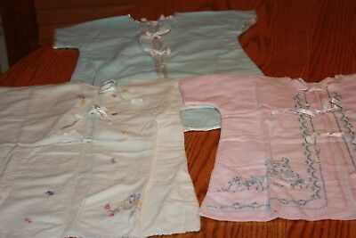 3 Vintage Flannel Embroidered Baby Gowns Kimono Ribbon Ties Pink Blue White