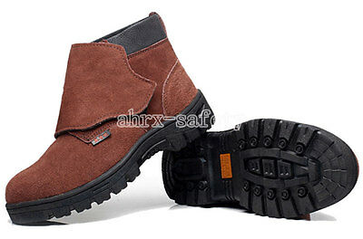 Men's Work Safety Shoes Steel Toe Welding Boots Leather Welder Protective Shoes