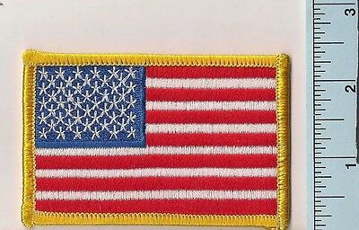One New American Flag Patch, Embroidered, Plastic Backing, Gold Border