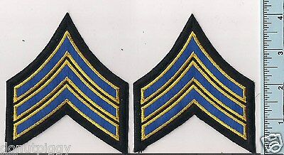 Two NEW Royal (Blue) w/Medium Gold Border Police Sergeant Rank Patches CHP 4 1/8