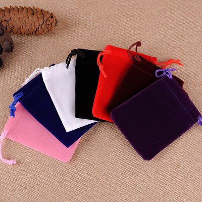 10Pcs Velvet Drawstring Velour Pouch Jewelry Baggie Ring Gift Bag Pouch Utility