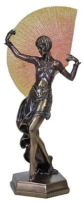 ART DECO LADY HOLDING YELLOW FAN Veronese Bronze Figurine