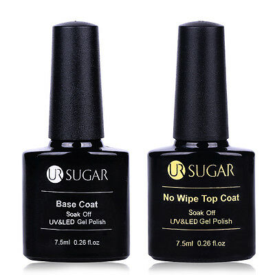 7.5ml UR SUGAR Nail No Wipe Top Coat Base Coat Gel Soak off Nail Art Gel Polish