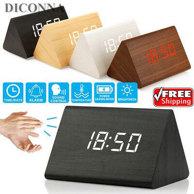 Electronic Digital Wood LED Alarm Clock Sounds Control Temperature Desk Decor ZP