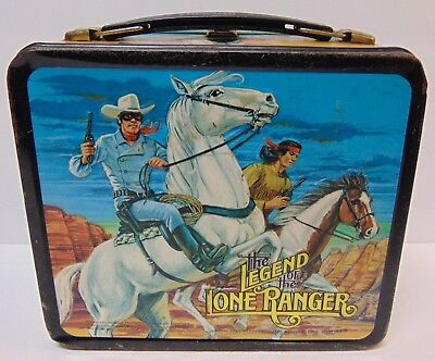 Vtg 1980 THE LONE RANGER TONTO COWBOY WESTERN METAL LUNCHBOX NO THERMOS ALADDIN