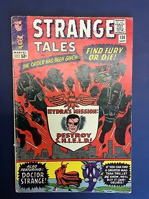 Strange Tales #136  Marvel 1965 Shield and Doctor Strange Grade VG+
