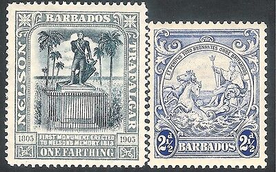 Barbados 1907/38 black/grey 1/4d crown CA blue 2.5d script mint SG158/251