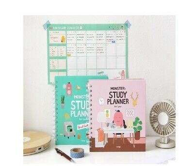 1pc Mint  Pink Indigo For 1 Year Monster's Study Planner semesterdiary