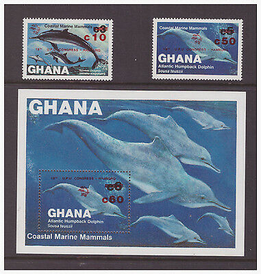 Ghana 1984 Emblem and Surcharged,Coastal Marine Mammals mint MNH  stamps