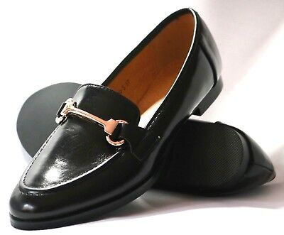 Ladies New Shiny Slip-On Black Patent School/Office Loafers With Gold Buckle