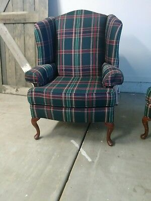One Vintage Style Ball and Claw Fireside Wing Back Arm Chair