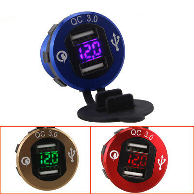 QC 3.0 Dual USB Charger Socket with Voltmeter&Wire Waterproof for Car Motorcycle