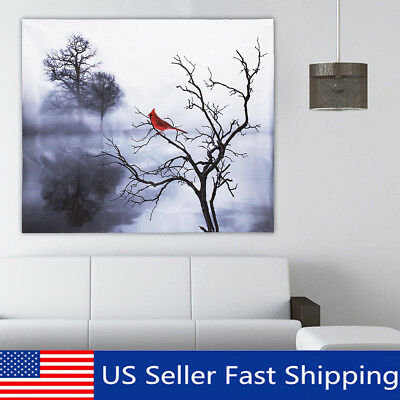 Home Decor Modern Canvas Oil Printed Paintings Wall Art Red Bird Tree Gift