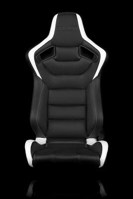 BRAUM Racing Elite Series Sport Seats - Black and White Leatherette - Pair
