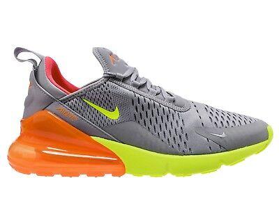 Nike Air Max 270 Mens AH8050-012 Grey Volt Orange Mesh Running Shoes Size 9.5