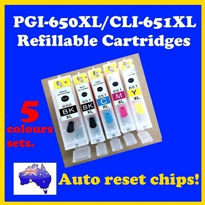 5 x Canon PGI-650XL/CLI-651XL COMPATIBLE, REFILLABLE CARTRIDGES (5 Colours)